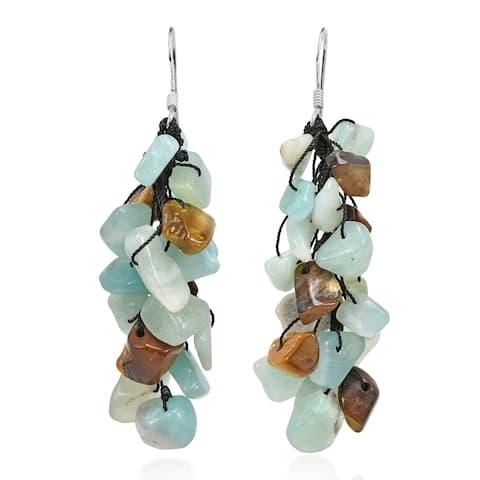 Handmade Sea-Foam Green Aventurine Cluster Earrings (Thailand)