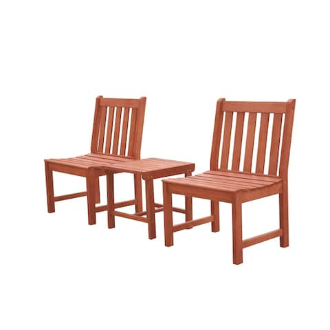 Malibu Outdoor Patio 3-Piece Wood Dining Set with Armless Chairs