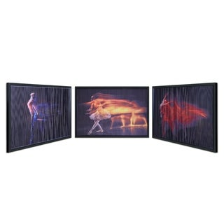 "Empire Art ""Fire"" Artwork Covered with Tempered Glass in a Black Shadow"