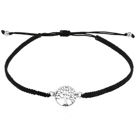 Handmade Spiritual Tree of Life Sterling Silver Charm Adjustable Bracelet (Thailand)