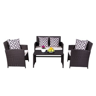 Cyrus 4-Piece Patio Garden Wicker Dining & Coffee Set