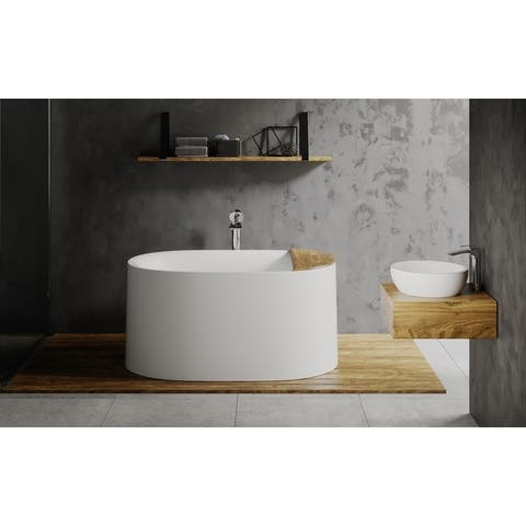 Aquatica Sophia White Matte Freestanding Solid Surface Bathtub