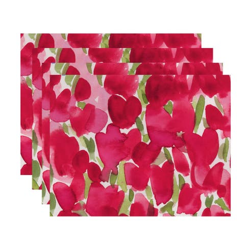 Tulip Blossom 18x14 inch Floral Print Placemat (Set of 4)
