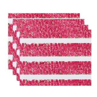 Flower Bell Stripe 18x14 inch Floral Print Placemat (Set of 4)