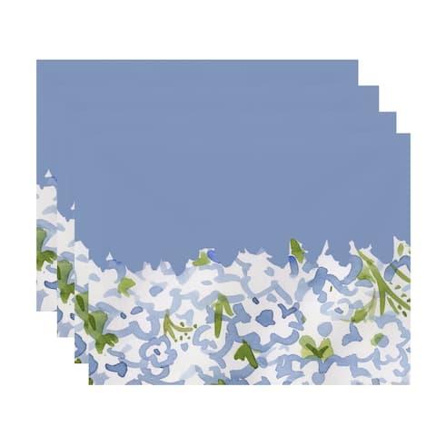 Gardenia Garden 18x14 inch Floral Print Placemat (Set of 4)