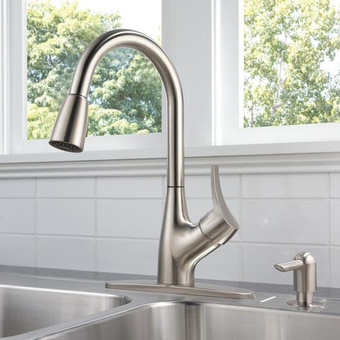 Delta Peerless Single Handle Pull-Down Kitchen Faucet with Soap Dispenser, Stainless (P88121LF-SSSD-W)