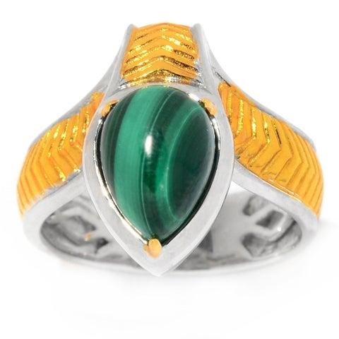 Michael Valitutti Palladium Silver Cleopatra Pear Shaped Malachite Snake Ring