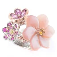 Michael Valitutti Palladium Silver Mother-of-Pearl, Rhodolite & Multi Gemstone Flower Ring