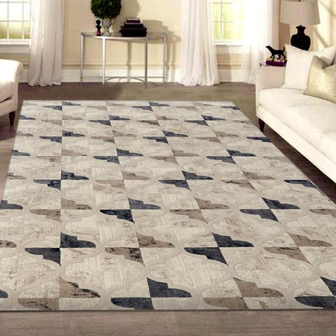 """Isabel Style Bone Area Rug by Admire Home Living - 3'3"""" x 4'11"""""""