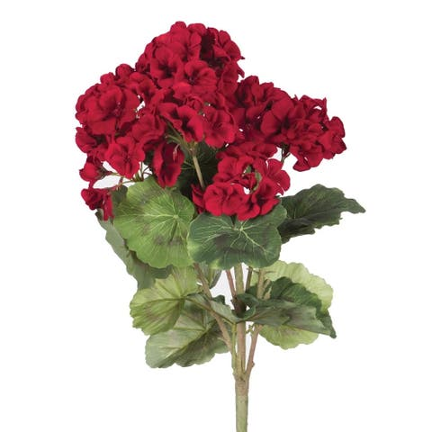 "Vickerman 18"" Red Geranium Floral Bush"