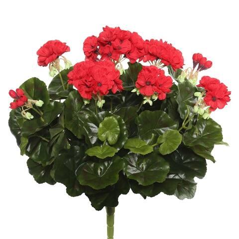 "Vickerman 17.5"" Red Geranium Floral Bush"