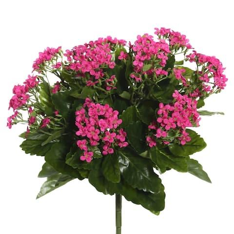 """Vickerman 15.5"""" Hot Pink Kalanchoe Floral Bush - HOT PINK"""