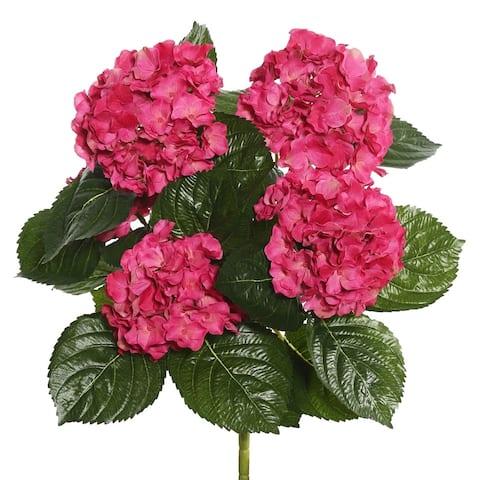 "Vickerman 17.5"" Hot Pink Hydrangea Floral Bush - HOT PINK"