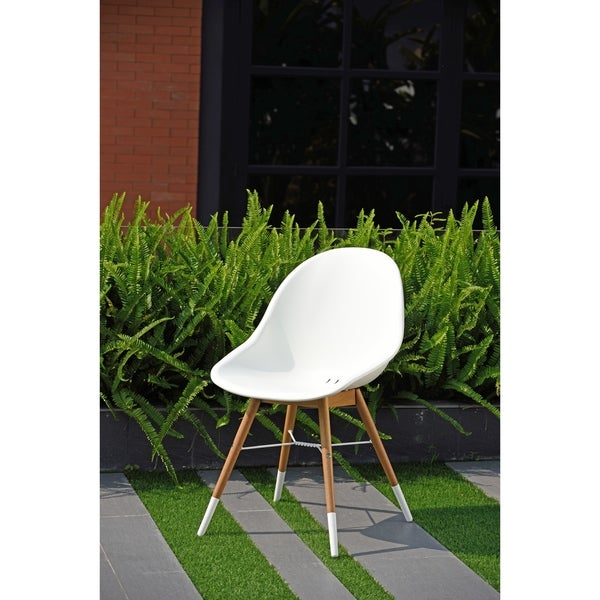 Ia Hawaii Patio Dining Chair Set White With Light Teak Finish Of 2