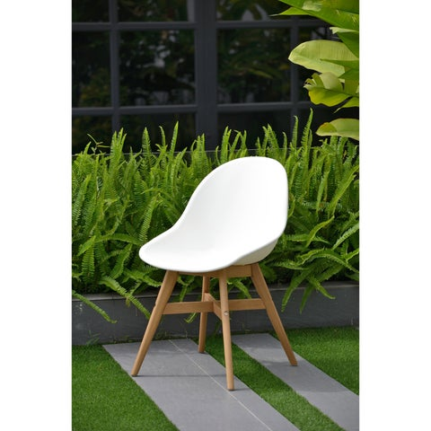 Amazonia Deluxe Hawaii 4 Piece Patio Dining Chairs, White with light Teak Finish