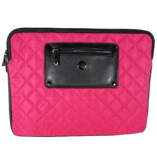 "Knomo London Womens Quilted Nylon Laptop Sleeve For 13"" MacBook Pro, Teaberry"