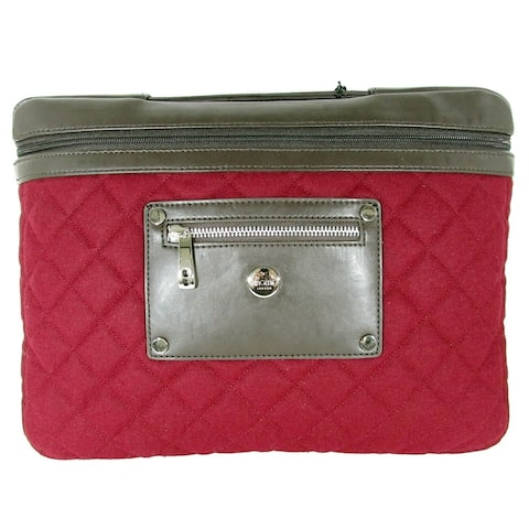 """Knomo London Womens Slim Small Quilted Felt 13-14"""" Laptop Sleeve Bag, Berry"""
