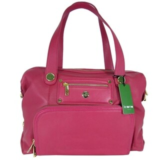"""Knomo London Womens Lola 15"""" Leather Laptop Tote Bag, Teaberry"""