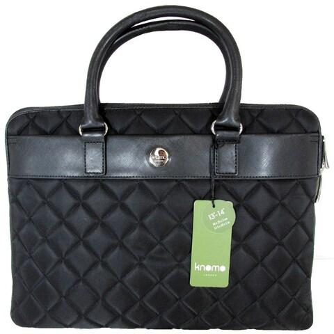"Knomo London Avignon Slim Quilted 13"" Laptop Briefcase, Black"