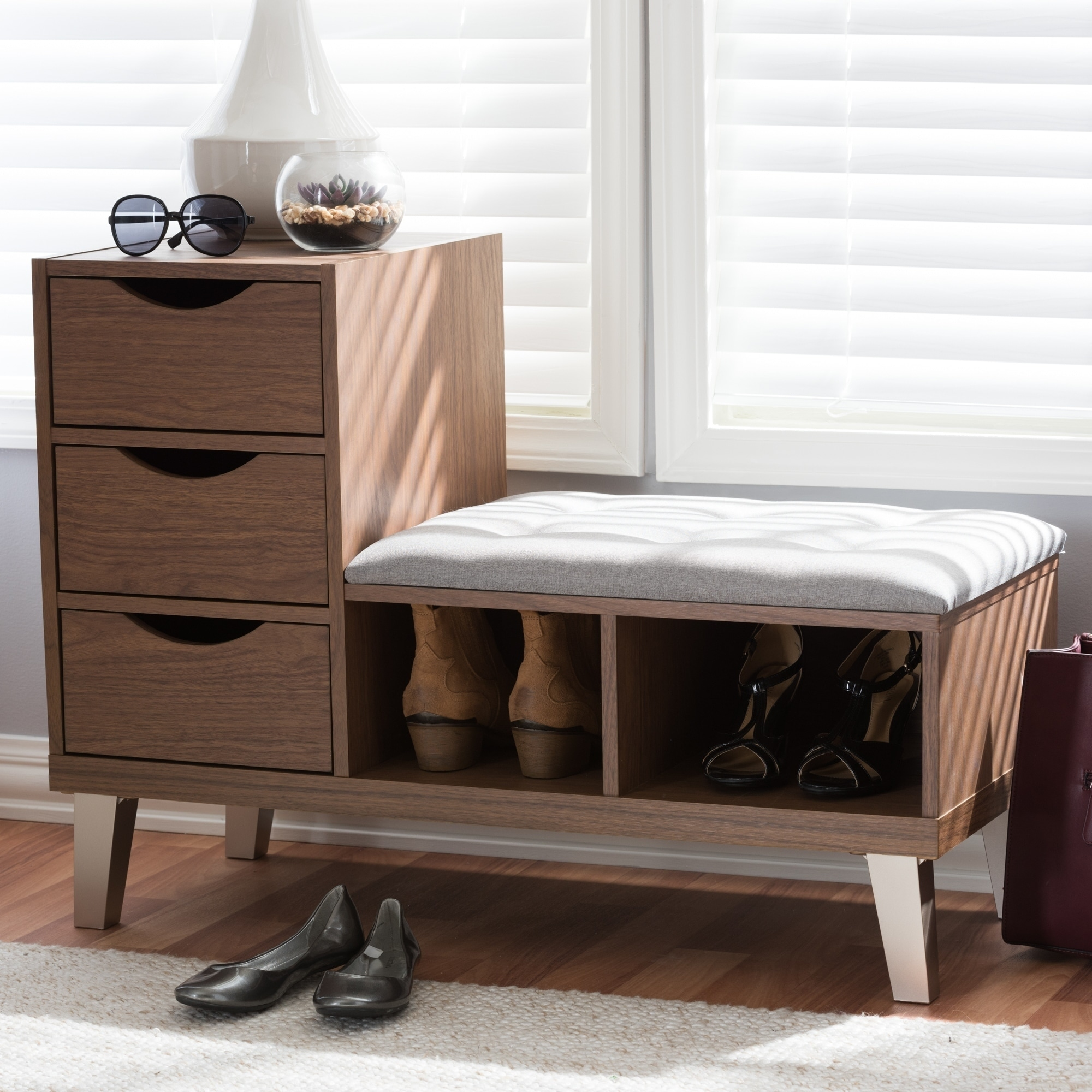 Wondrous Contemporary Shoe Storage Bench By Baxton Studio Ocoug Best Dining Table And Chair Ideas Images Ocougorg