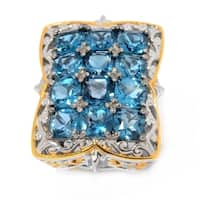 Michael Valitutti Palladium Silver London Blue Topaz 12-Stone High-Set Ring