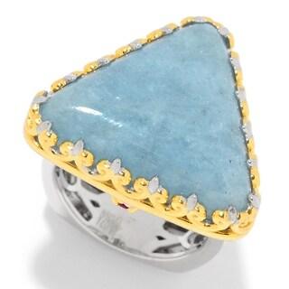 Michael Valitutti Palladium Silver Milky Aquamarine & Pink Tourmaline Trillion Ring