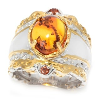 Michael Valitutti Palladium Silver Oval Baltic Amber & Madeira Citrine Wide Band Ring