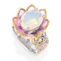 Michael Valitutti Palladium Silver Ethiopian Opal & Enamel Flower Ring