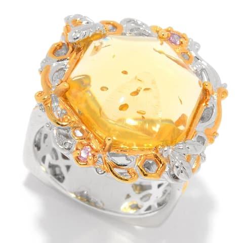 Gems en Vogue Palladium Silver Golden Amber & Pink Sapphire Bee Ring