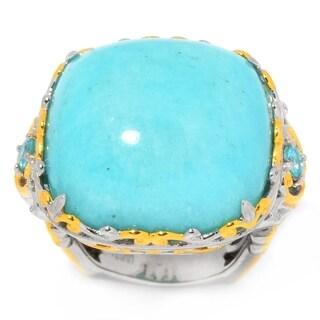 Michael Valitutti Palladium Silver Cushion Shaped Amazonite & Apatite Ring