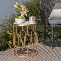 Drexel Outdoor Faux Stone Side Table by Christopher Knight Home
