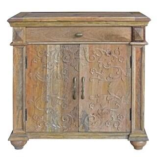 Bengal Manor Mango Wood 2-door Carved Cabinet