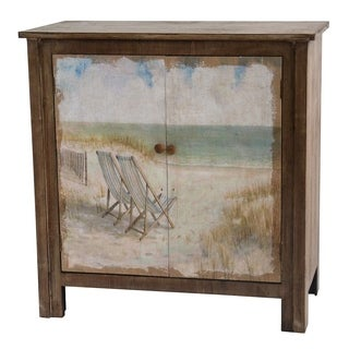 Gulf Breeze Rustic Wood Painted Canvas Beach Scene 2-door Cabinet