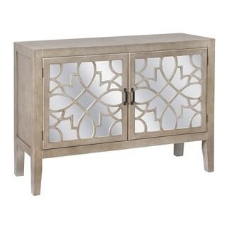 Veranda Sandstone Mango Wood and Mirror 2-door Cabinet