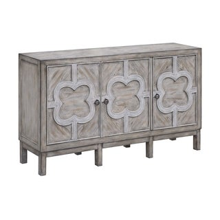 Buckingham Grey Wash and White Fretwork Overlay 3-door Cabinet