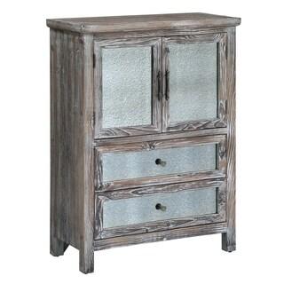 Jackson Rustic Wood and Antique Mirror 2-drawer 2-door Cabinet