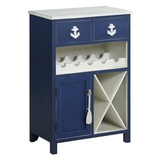 Nautical Navy and White 2-drawer 1-door Wine Cabinet
