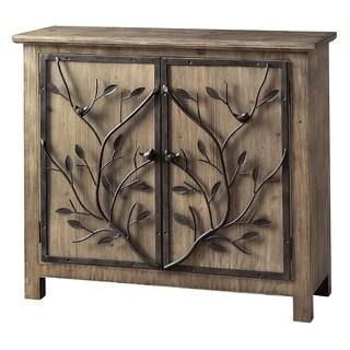 Windcrest Brown Rustic Wood and Metal Tree 2-door Cabinet
