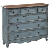 Weathered Blue and Grey Solid Mango Wood 6-drawer Cabinet