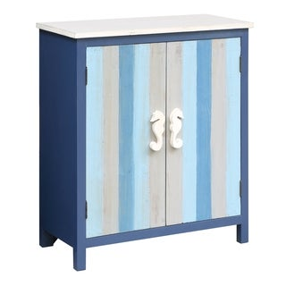 Nautical Blue and Grey Fur Wood 2-door Striped Cabinet
