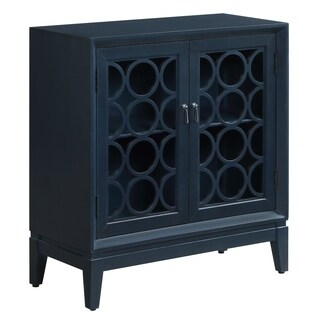 Portsmouth Royal Blue Wood and Glass 2-door Circle Pattern Cabinet