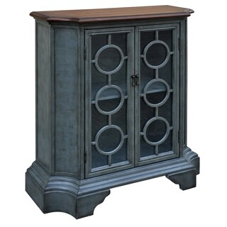 Ashton Distressed Blue Wood and Glass 2-door Circle Cabinet