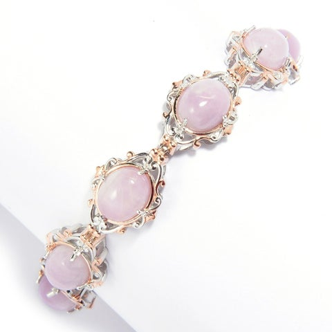 Michael Valitutti Palladium Silver Oval Kunzite Line Bracelet - Pink