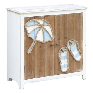 Paradise Beach Flip Flops and Umbrella 2-door Cabinet