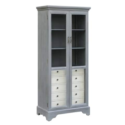 Joanna Two-tone Cadet Blue Glass Door 5-drawer Cabinet