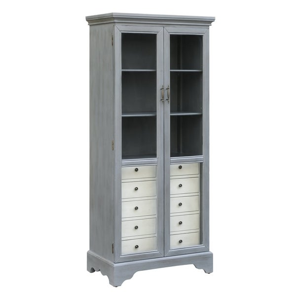 Joanna Two Tone Cadet Blue Glass Door 5 Drawer Cabinet Free