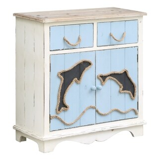 Dolphin Island White Wash and Sea Blue 2-drawer 2-door Cabinet