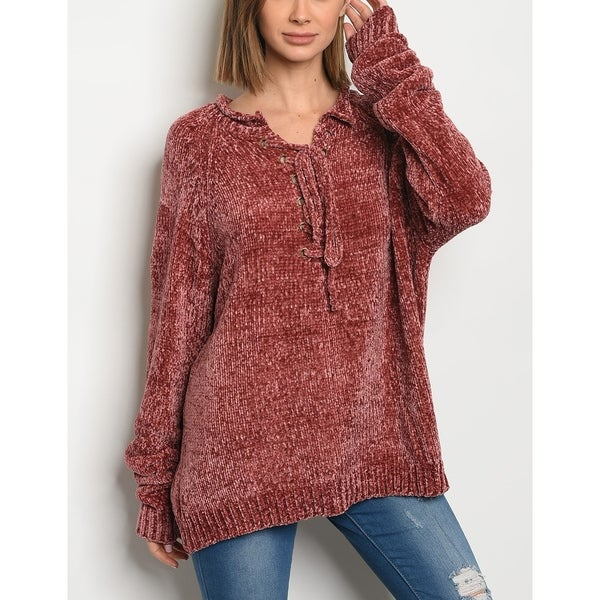 Shop Jed Womens Lace Up Relax Fit Chenille Sweater Free Shipping