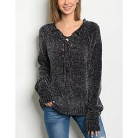 JED Women's Lace Up Relax Fit Chenille Sweater