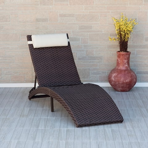 Havenside Home Alaganik Brown Folding Patio Chaise Lounger Chair
